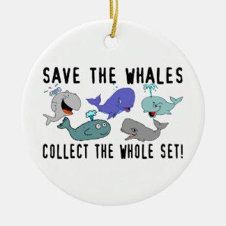 Ahorre las ballenas recogen el sistema del adorno navideño redondo de cerámica