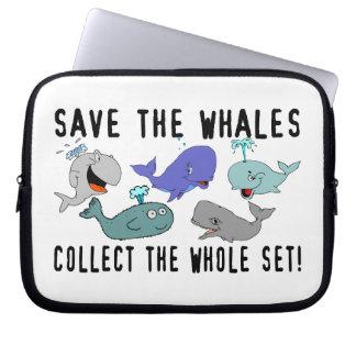 Ahorre las ballenas recogen el sistema del conjunt funda computadora