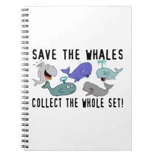 Ahorre las ballenas recogen el sistema del conjunt libretas
