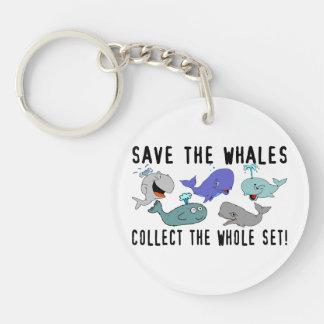 Ahorre las ballenas recogen el sistema del conjunt llavero redondo acrílico a doble cara
