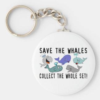 Ahorre las ballenas recogen el sistema del conjunt llavero redondo tipo pin