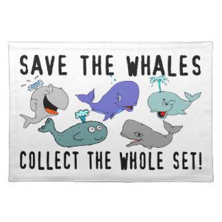 Ahorre las ballenas recogen el sistema del conjunt manteles individuales