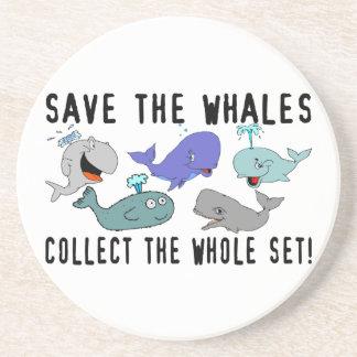 Ahorre las ballenas recogen el sistema del conjunt posavasos diseño