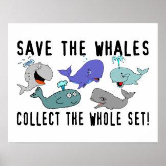Ahorre las ballenas recogen el sistema del conjunt póster