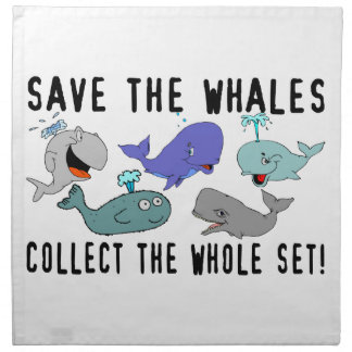 Ahorre las ballenas recogen el sistema del conjunt servilletas imprimidas