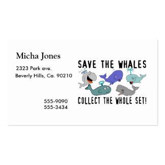 Ahorre las ballenas recogen el sistema del conjunt tarjetas de visita