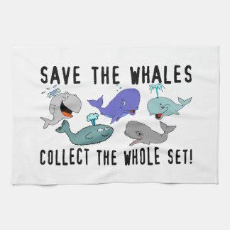 Ahorre las ballenas recogen el sistema del conjunt toalla