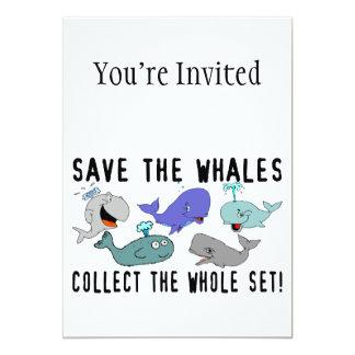 """Ahorre las ballenas recogen el sistema del invitación 5"""" x 7"""""""