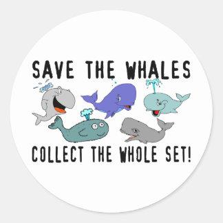 Ahorre las ballenas recogen el sistema del pegatina redonda