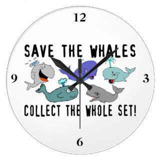 Ahorre las ballenas recogen el sistema del reloj redondo grande