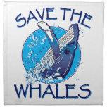 Ahorre las ballenas servilletas imprimidas