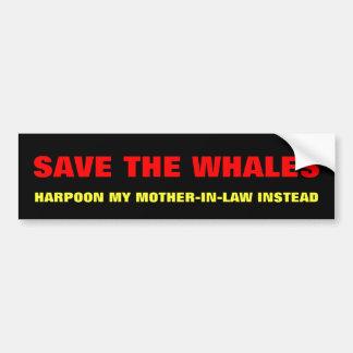 Ahorre las ballenas, suegra del arpón en lugar de pegatina para auto