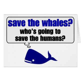 ¿Ahorre las ballenas? Tarjeta De Felicitación