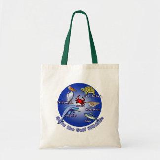Ahorre las camisetas de la fauna del golfo bolsa lienzo