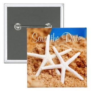 Ahorre las estrellas de mar de la fecha dos pin cuadrada 5 cm