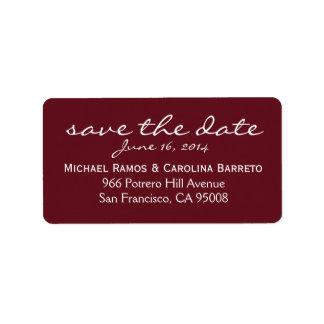 Ahorre las etiquetas de fecha - vino etiquetas de dirección