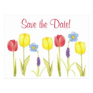 Ahorre las flores amarillas rojas del tulipán de tarjetas postales