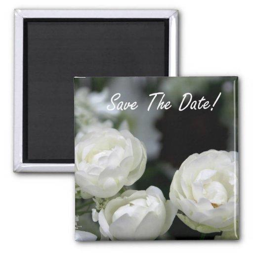 Ahorre las flores blancas de la fecha - imán