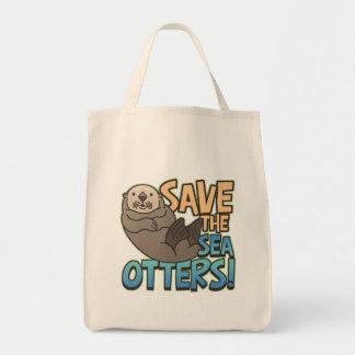 Ahorre las nutrias de mar bolsa tela para la compra