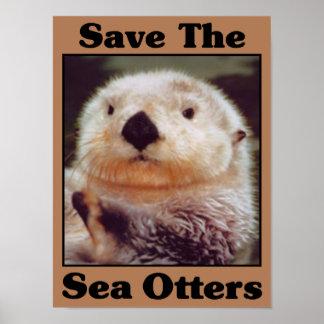 Ahorre las nutrias de mar póster