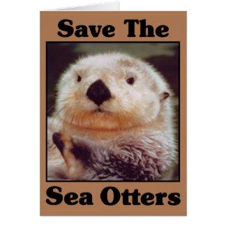 Ahorre las nutrias de mar tarjeta de felicitación