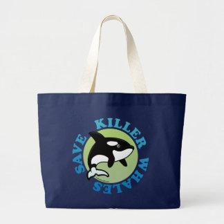 Ahorre las orcas bolsa de tela grande