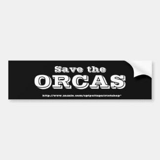 Ahorre las ORCAS Pegatina De Parachoque