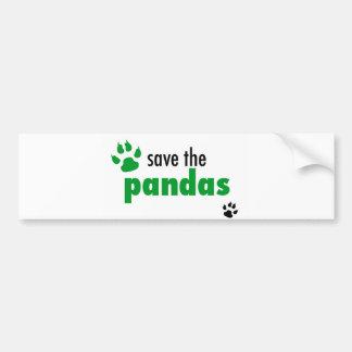 Ahorre las pandas pegatina de parachoque