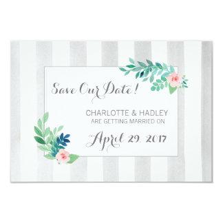 """Ahorre las rayas modernas de la fecha y el floral invitación 3.5"""" x 5"""""""