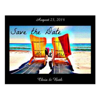 Ahorre las sillas de playa del dúo de la fecha tarjeta postal