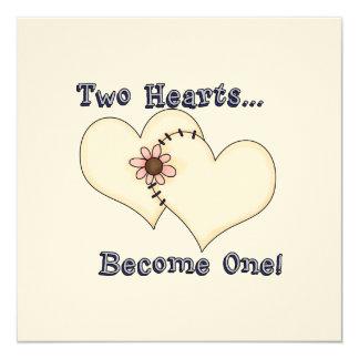 Ahorre las tarjetas de fecha con dos corazones y invitación 13,3 cm x 13,3cm