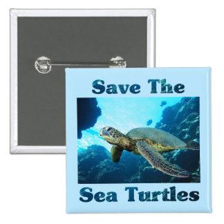 Ahorre las tortugas de mar pin cuadrado