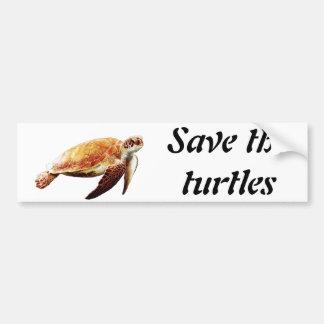 Ahorre las tortugas pegatina para auto