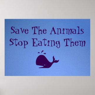 Ahorre los animales póster