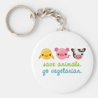 Ahorre los animales van vegetariano llavero