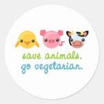 Ahorre los animales van vegetariano pegatinas redondas