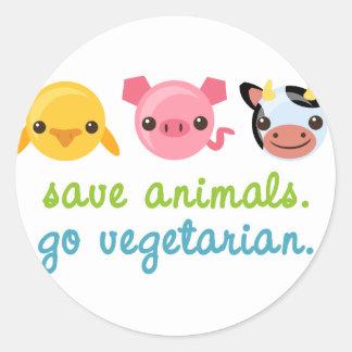 Ahorre los animales van vegetariano pegatina redonda