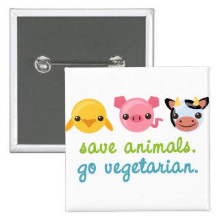 Ahorre los animales van vegetariano pin cuadrado