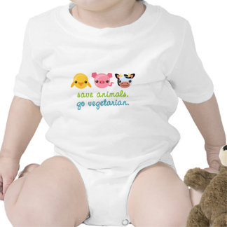 Ahorre los animales van vegetariano trajes de bebé