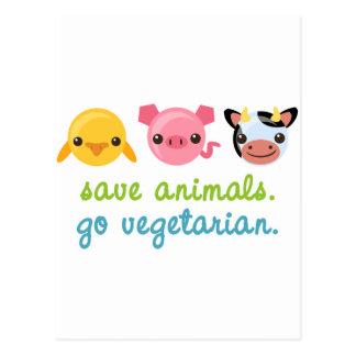 Ahorre los animales van vegetariano postal