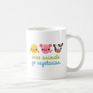 Ahorre los animales van vegetariano taza de café