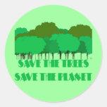 Ahorre los árboles ahorran el planeta pegatina redonda
