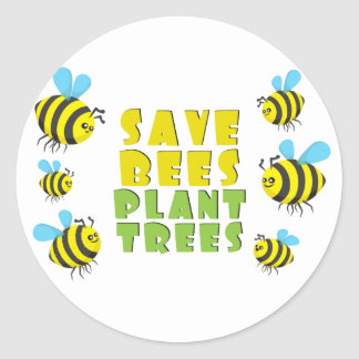 Ahorre los árboles de la planta de las abejas pegatina redonda