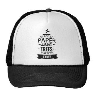 Ahorre los árboles de la reserva del papel ahorran gorra