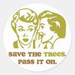Ahorre los árboles etiqueta