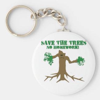 Ahorre los árboles llavero redondo tipo pin