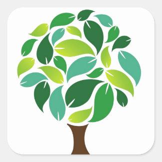 Ahorre los árboles pegatina cuadrada
