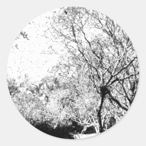Ahorre los árboles pegatinas redondas
