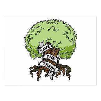 Ahorre los árboles tarjeta postal