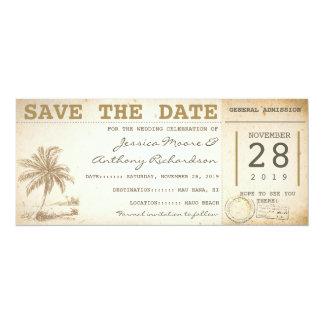 ahorre los boletos de la palma de la playa de la invitación 10,1 x 23,5 cm